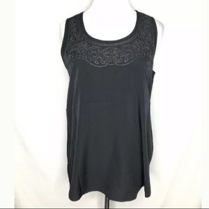 NYDJ Black Sleeveless Blouse Decorative Stitch Top